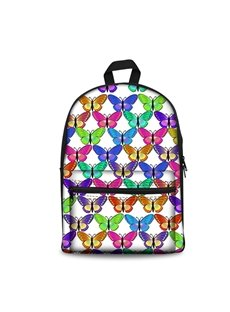 3D Various Colorful Butterflies with White Bottom Color Pattern School Outdoor for Man&Woman Backpack