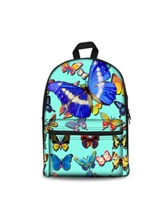 Various Butterflies with Blue Bottom Color Pattern Washable Lightweight 3D Printed Backpack