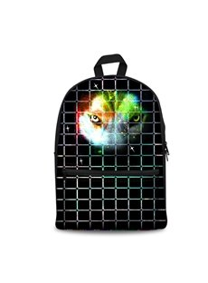 3D Vivid Wolf with Grids School Backpack for Boys Girls Fashion Durable Book Bag
