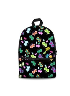 3D Colorful Vivid Butterflies with Black Bottom Color Pattern Washable Lightweight 3D Printed Backpack