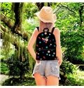 3D Kids School Backpack for Boys & Girls Flowers and Butterflies with Black Bottom Color Print Design
