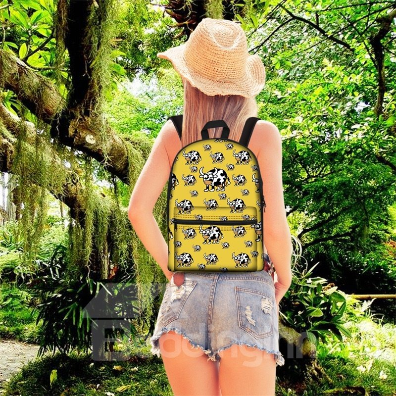 Kids School Backpack for Boys & Girls 3D Milk Cows with Yellow Bottom Color Print Design