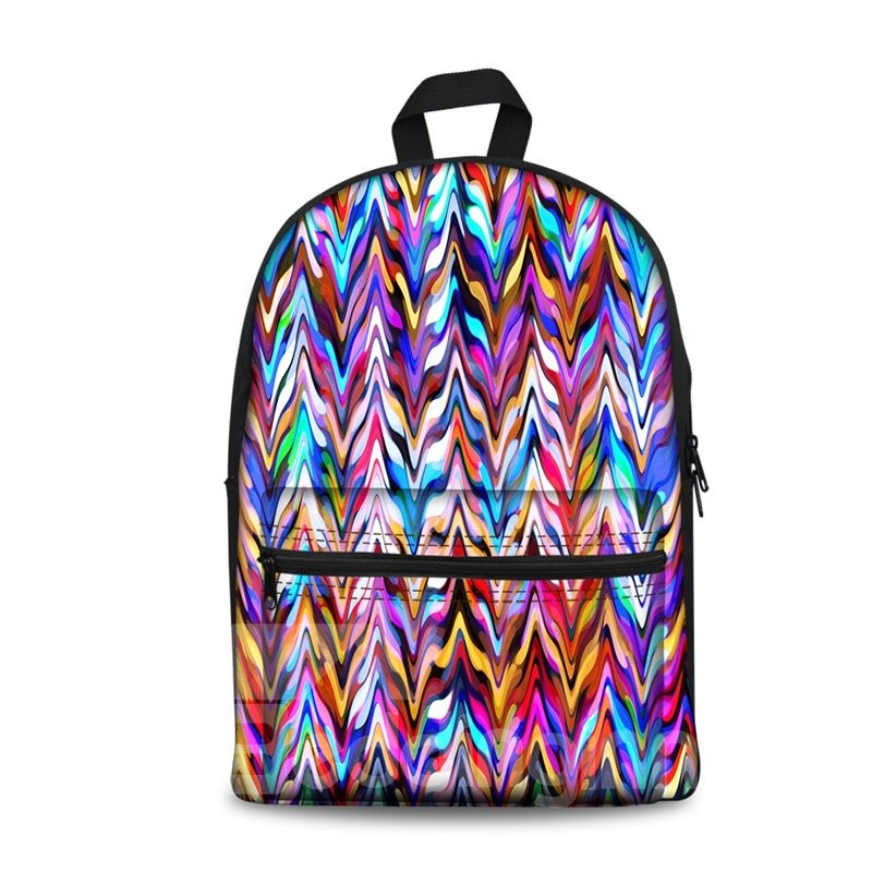 3D Abstract Art Colorful School Backpack for Boys Girls Fashion ...