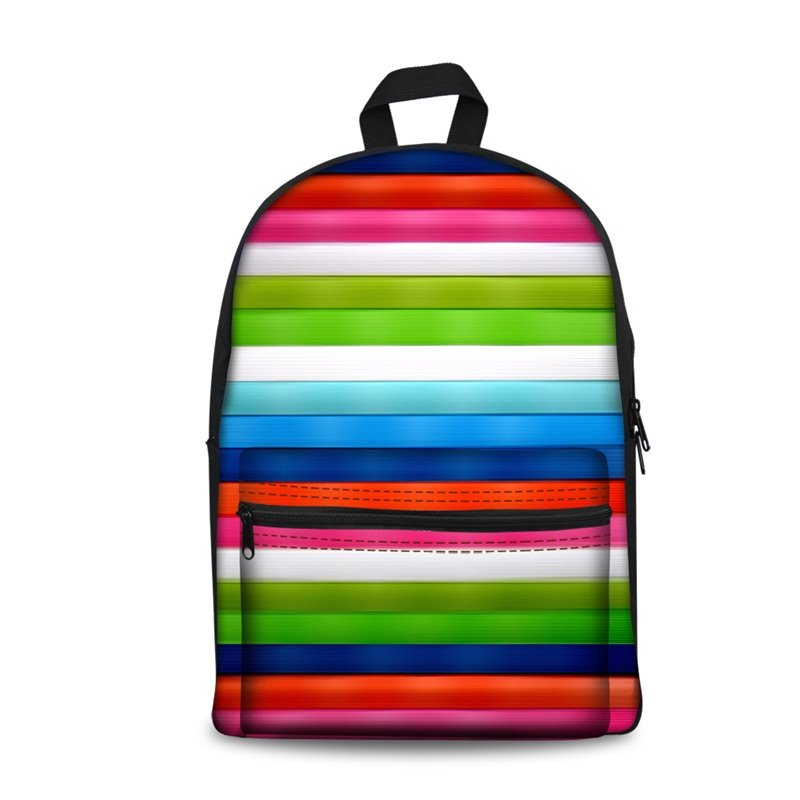 Colorful Stripes Pattern Washable Lightweight 3D Printed Backpack