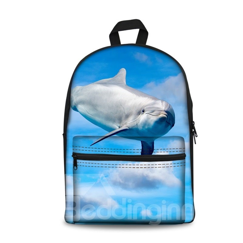 3D Cute Dolphin with Blue Sky School Backpack for Boys Girls Fashion Durable Book Bag