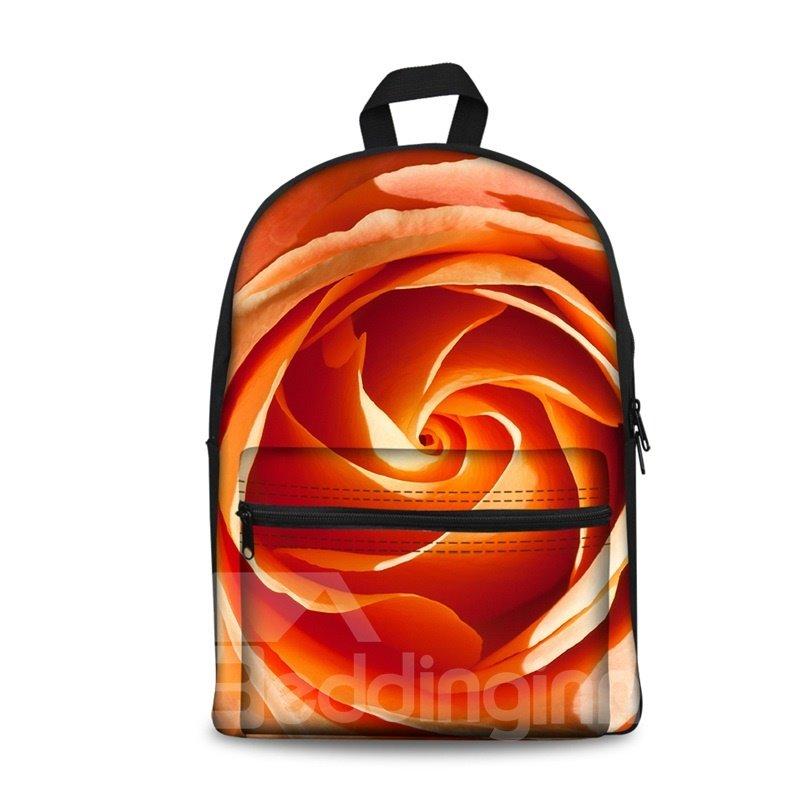 Beautiful Orange Flowers Pattern Washable Lightweight 3D Printed Backpack