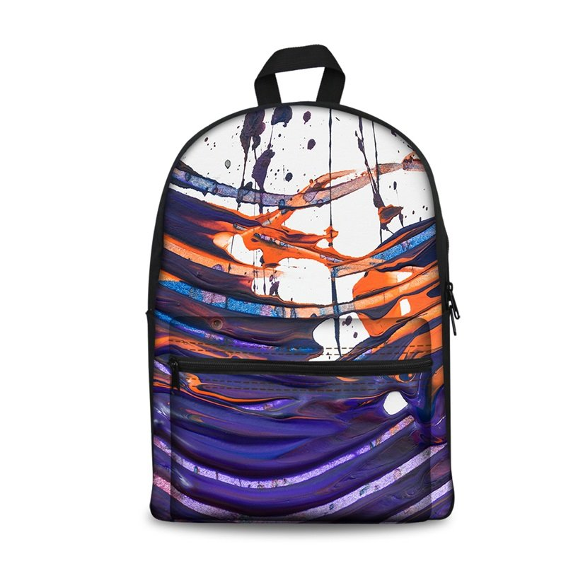 New Fashion 3D Abstract Watercolor Painting Backpack Students School Campus Bags