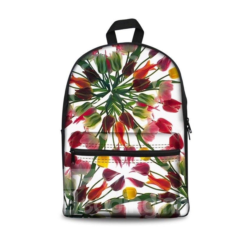 3D Modern Style Simplify Tulip Flowers Print Backpack School Bags Cool Casual Laptop Packs