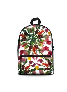 3D Modern Style Simplify Tulip Flowers Print Backpack School Bags Cool Casual Laptop Packs