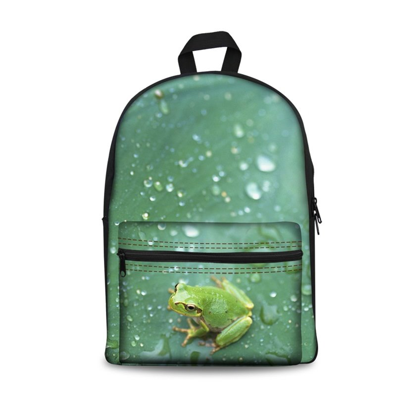 Little Frogs with Rain Pattern Washable Lightweight 3D Printed Backpack