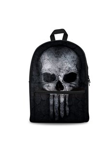 Black Bottom Color with Skull Pattern Washable Lightweight 3D Printed Backpack