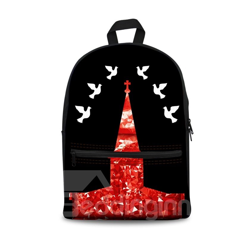 New 3D Peaceful Pigeon with the Tower Backpack Students School Campus Bags