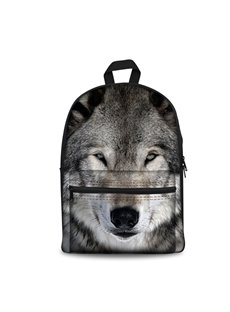 3D Vivid Grey Grimness Wolf Pattern Washable Lightweight 3D Printed Backpack