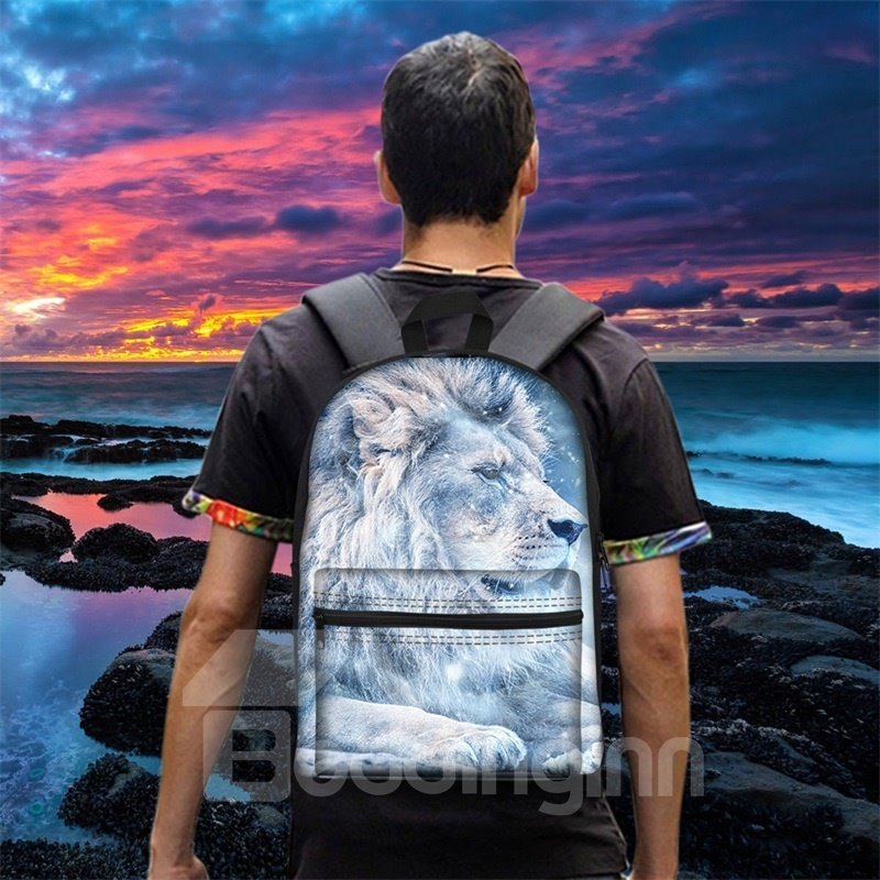 New 3D Animals White Ice Lions Print Backpack School Bags Cool Casual Laptop Packs