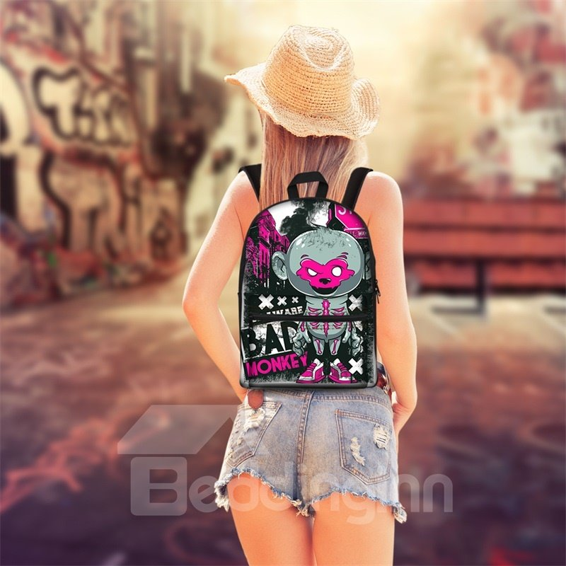 New 3D Jump Style 2D Drawing From Cartoon Funky Monkey Backpack Students School Campus Bags