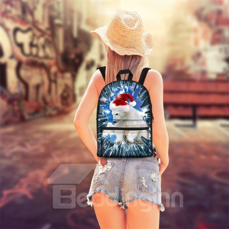 Hot 3D Animals Polar Bear Print Backpack School Bags Cool Casual Laptop Packs
