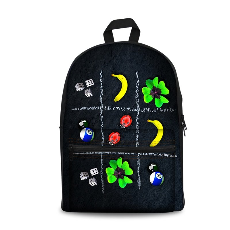 3D Nine Block Box with Leaves and Bananas Pattern School Outdoor for Man&Woman Backpack