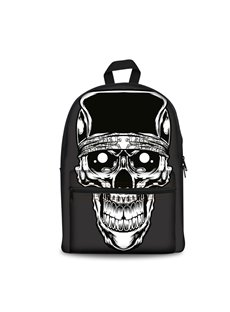 White Skull 3D Pattern Cool Style Personality SchoolBag Outdoor Black Backpack