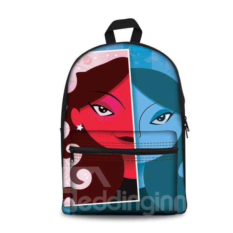 3D Kids School Backpack For Boys & Girls 3D Girl Face Red and Blue Print Design