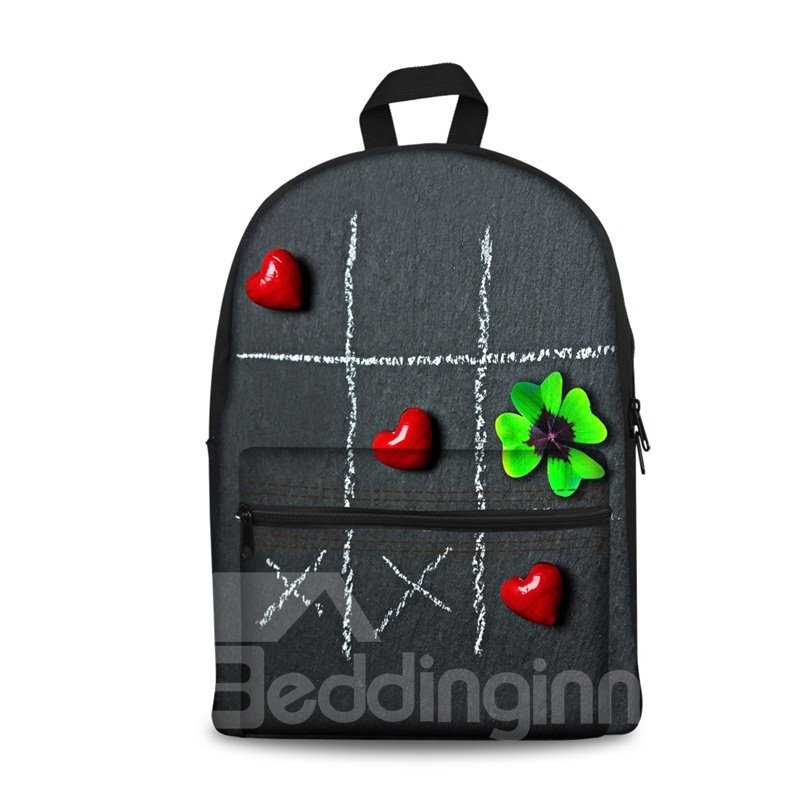 3D Cool Style Leaves and Heart Pattern Washable Lightweight School Outdoor Backpack