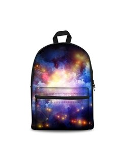 3D Vintage Galaxy Star Pattern School Laptop Zipper Backpack for Girls and Boys