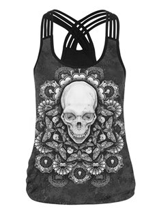 Floral Skull 3D Pattern Round Neck Sleeveless Vest Tank Top
