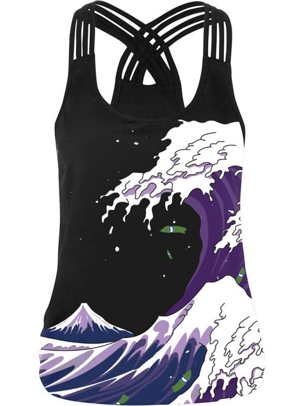 Sky Waves Purple 3D Sleeveless Vest Cool Summer Tank Top