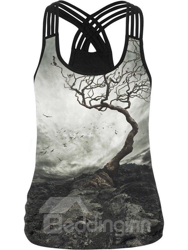 3D Root Cloudy Sky Bird Pattern Creative Sleeveless Fashion Vest Tank Top