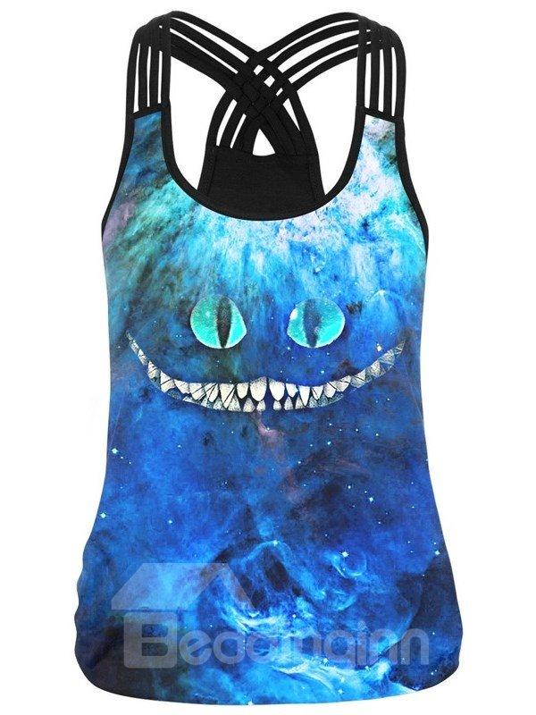 Stranger Cat Blue Sea 3D Pattern Sleeveless Vest Round Neck Tank Top