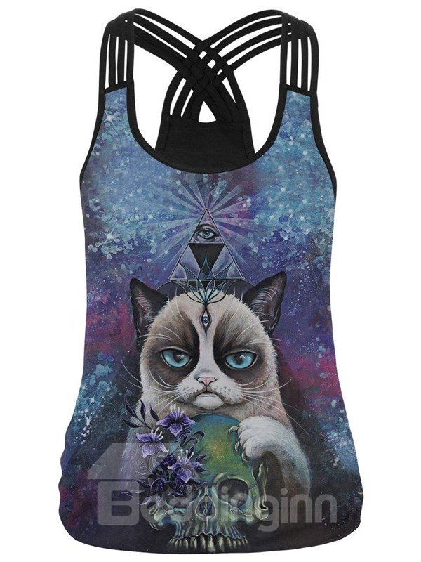 3D Mystery Floral Cat Skull Pattern Sleeveless Round Neck Tank Top