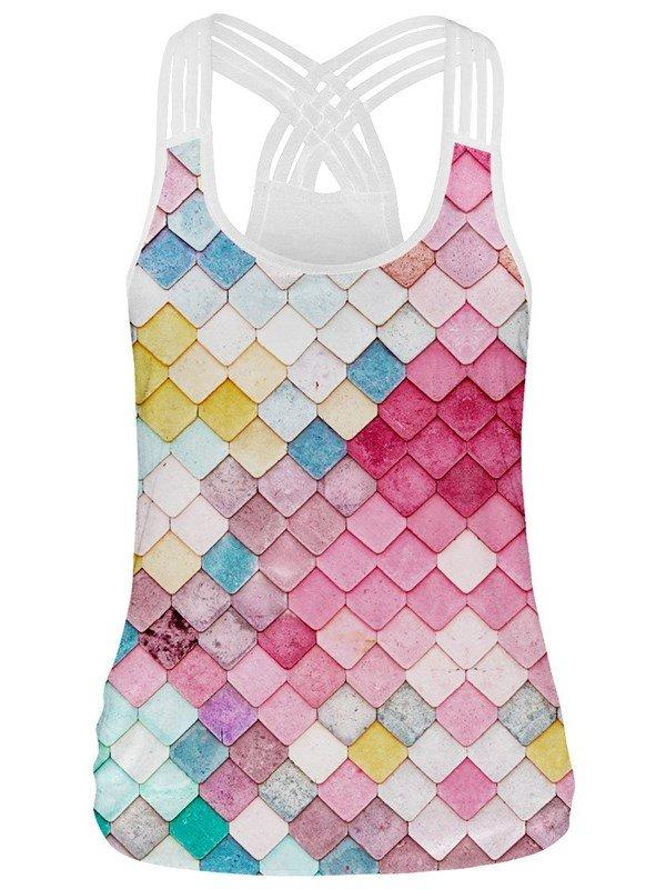 3D Print Sleeveless Vest Rhombus Rainbow Pattern Round Neck Tank Top