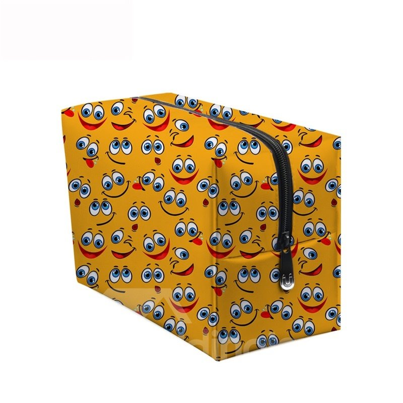 3D Portable Smiling Faces with Big Eyes Printed PV Ginger Cosmetic Bag