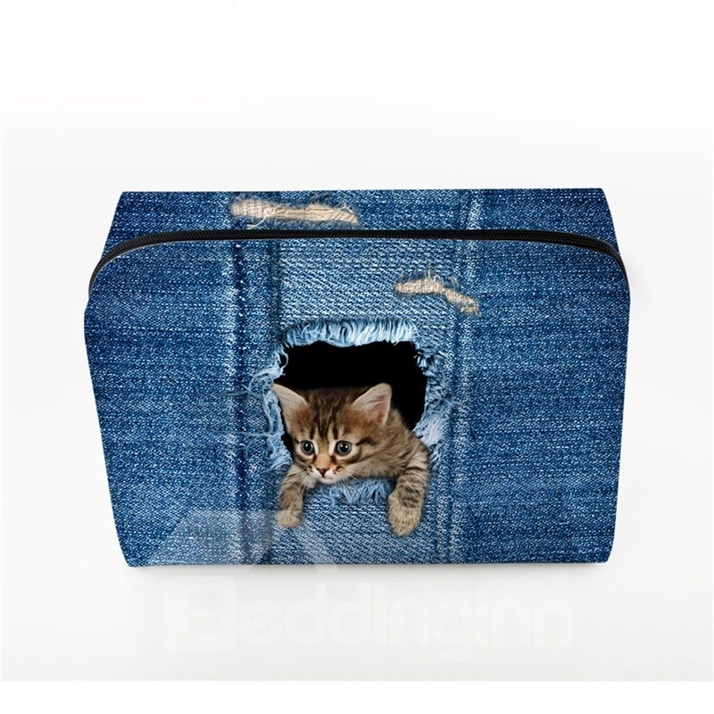 3D Portable Cat With Head Stretched Out Printed PV Dark Blue Cosmetic Bag