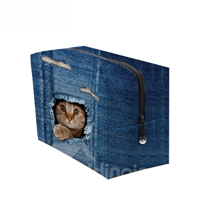 3D Portable Cat Inside the Hole Printed PV Dark Blue Cosmetic Bag