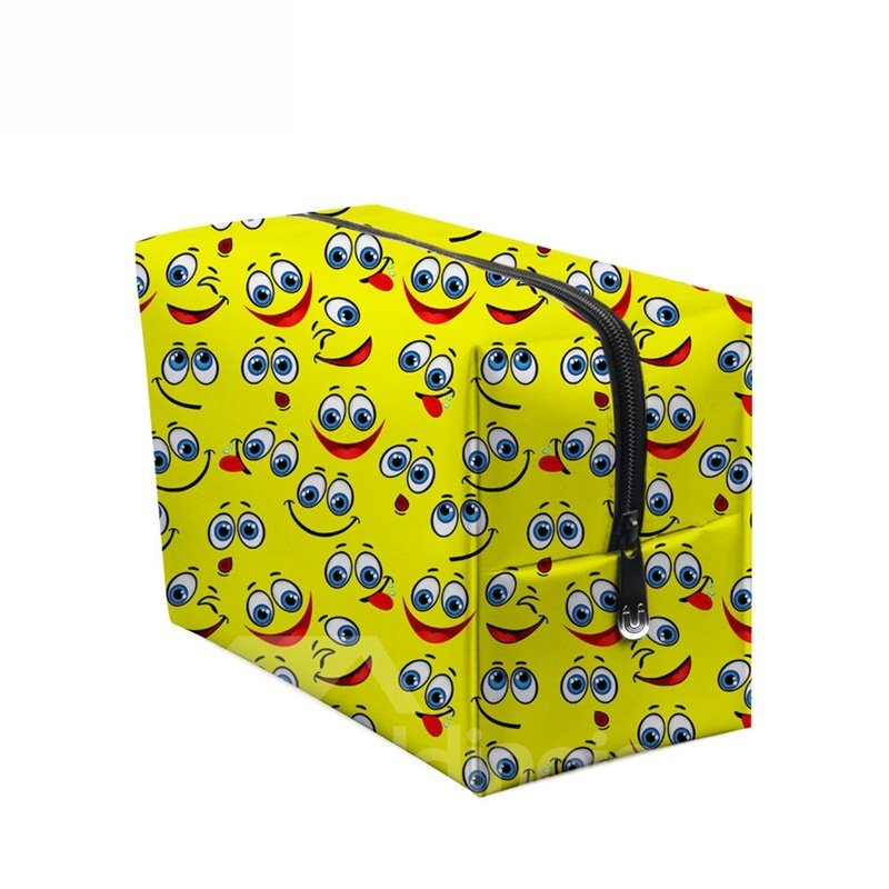 3D Portable Smiling Faces with Big Eyes Printed PV Yellow Cosmetic Bag