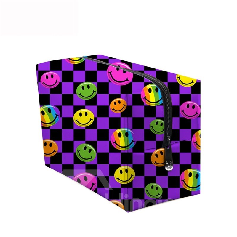 3D Portable Smiling Faces Printed PV Purple Cosmetic Bag