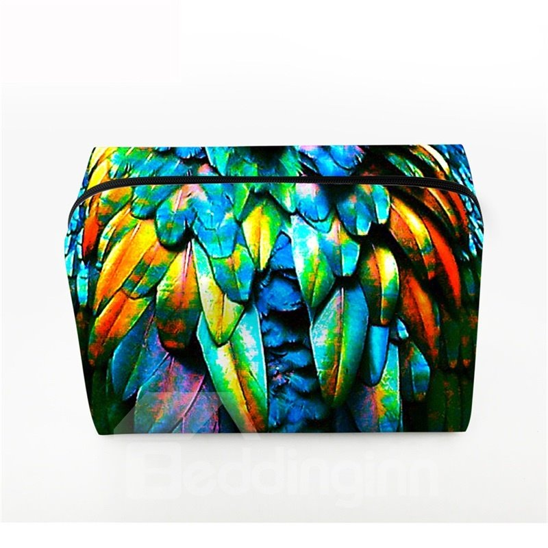 3D Portable Colorful Feathers Printed PV Cosmetic Bag