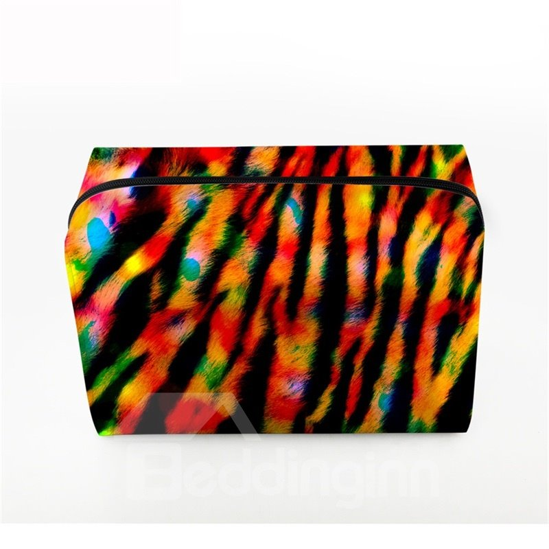 3D Portable Red Stripes Printed PV Black Cosmetic Bag