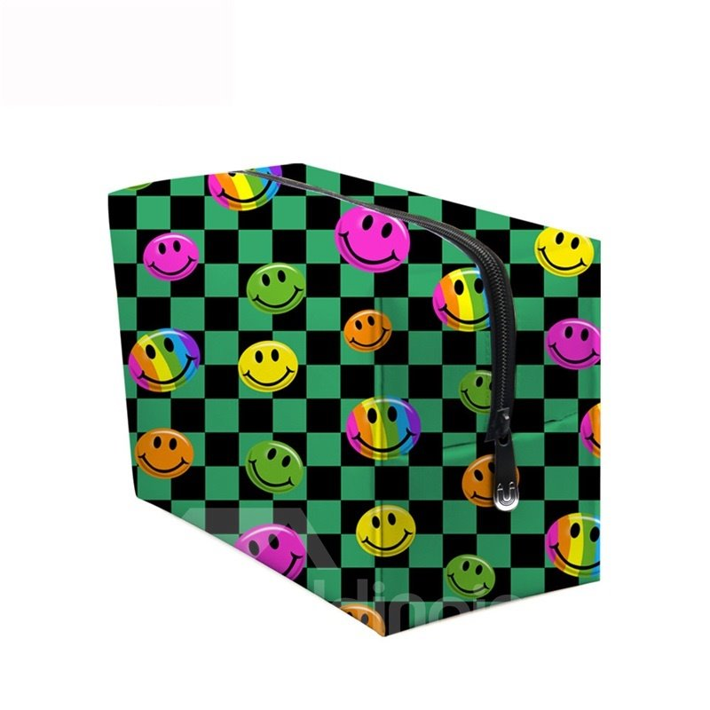 3D Portable Smiling Faces Printed PV Green Cosmetic Bag