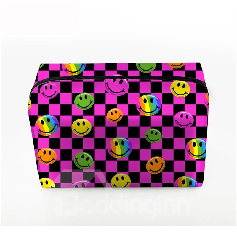 3D Portable Smiling Faces Printed PV Rose Red Cosmetic Bag