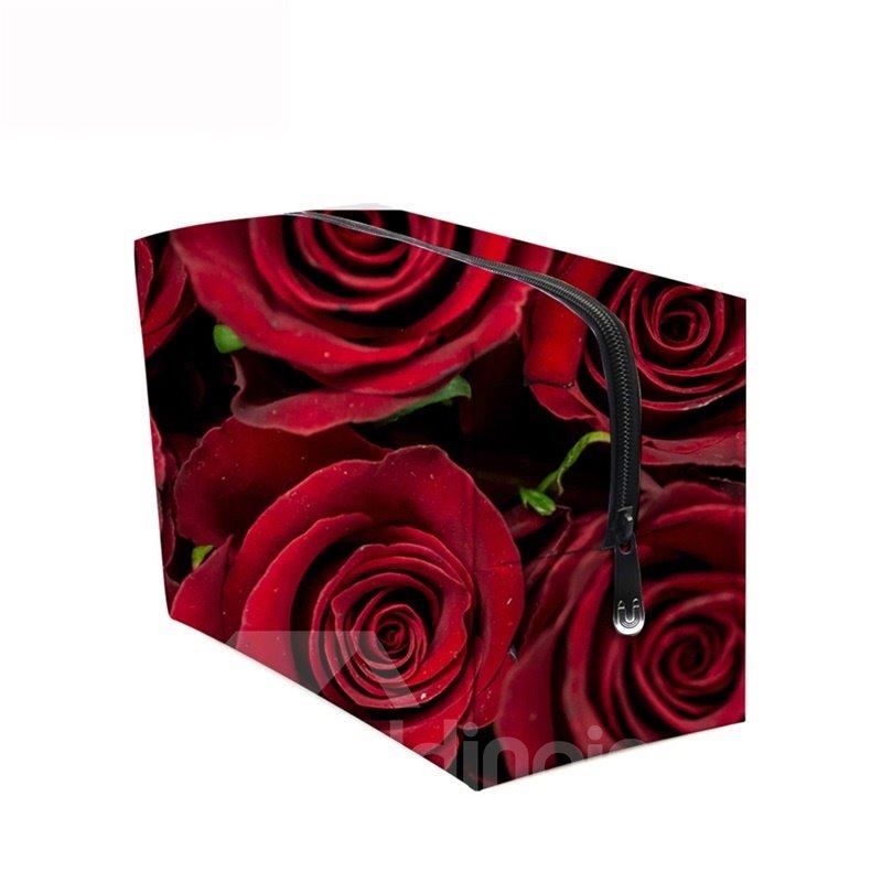 3D Portable Red Roses Printed PV Cosmetic Bag