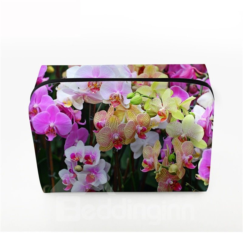 3D Portable Colorful Phalaenopsis Printed PV Cosmetic Bag
