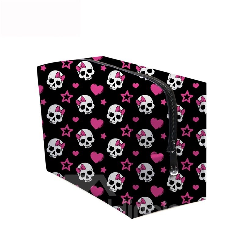 3D Portable Skulls and Pink Heart Shape Printed PV Black Cosmetic Bag