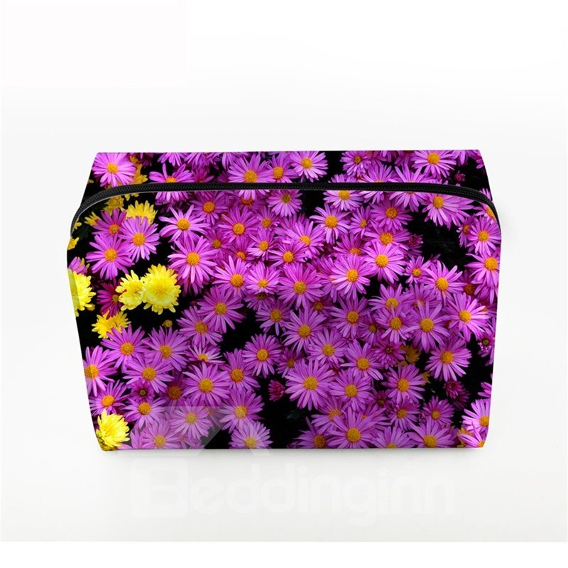 3D Portable Purple Daisies Printed PV Cosmetic Bag