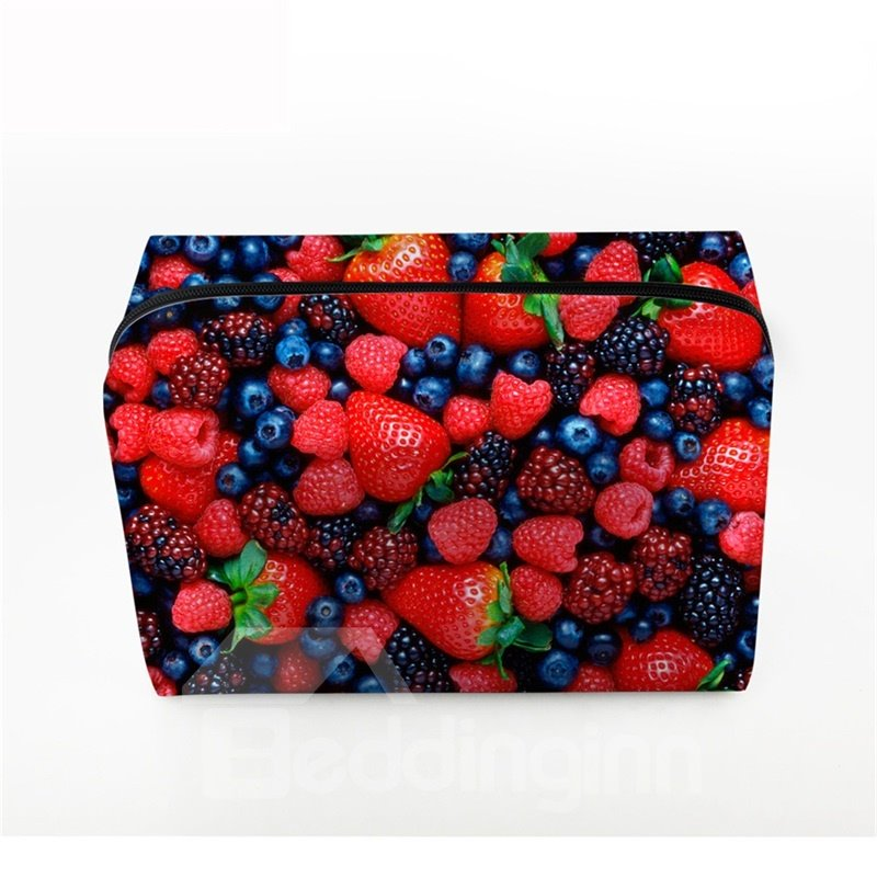3D Portable Strawberries and Blueberries Printed PV Cosmetic Bag