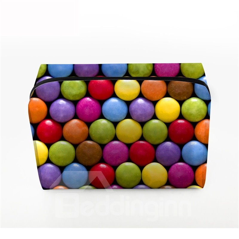 3D Portable Colorful Round Shape Candies Printed PV Cosmetic Bag