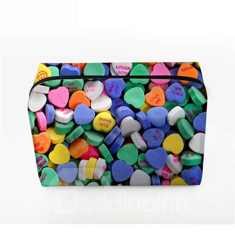 3D Portable Colorful Heart Shape Candies Printed PV Cosmetic Bag