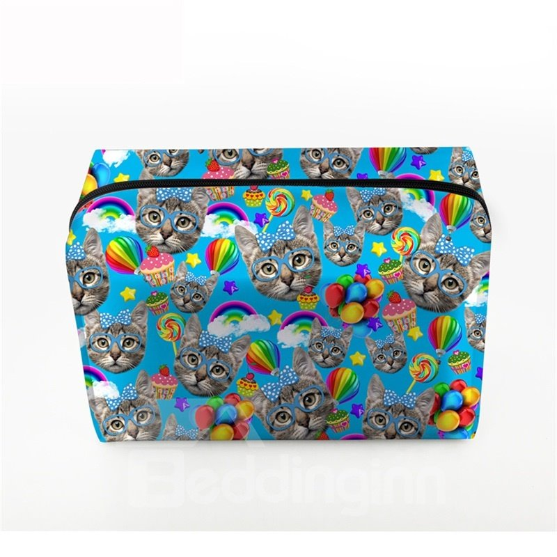 3D Portable Cats and Lollipops Printed PV Blue Cosmetic Bag