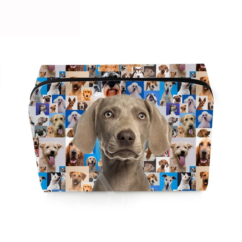 3D Portable Gray Hound Printed PV Cosmetic Bag