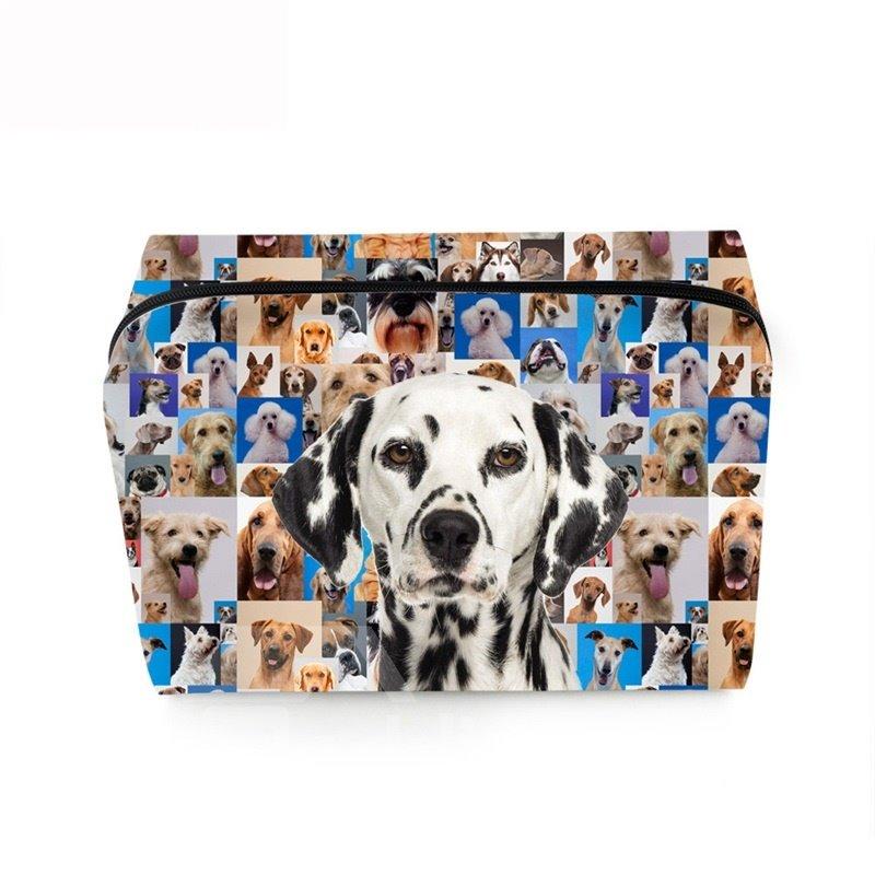 3D Portable Spotty Dog Printed PV Cosmetic Bag